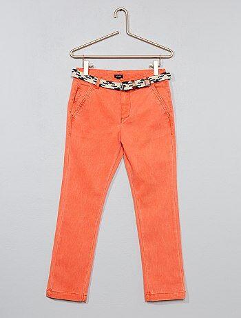 Pantalon slim + ceinture tressée - Kiabi