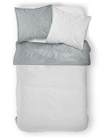 Parure de lit 2 personnes bicolore - Kiabi