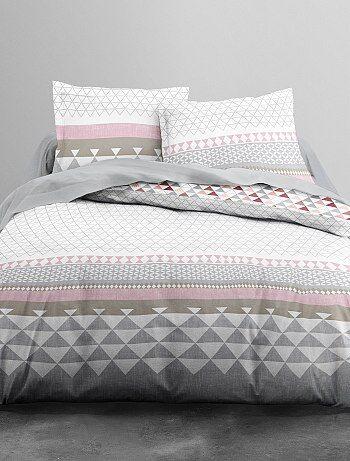 Parure de lit 2 personnes imprimé géométrique - Kiabi