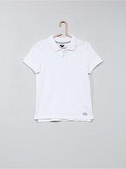 Tee shirt, polo blanc - Polo en coton piqué - Kiabi