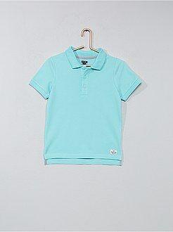 Tee shirt, polo bleu - Polo en coton piqué - Kiabi