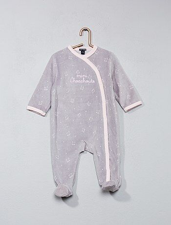 Pyjama en velours imprimé 'chouchoute' - Kiabi
