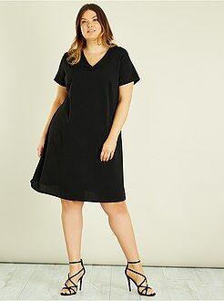 Zwarte jurk - Rechte jurk van gewafeld tricot - Kiabi
