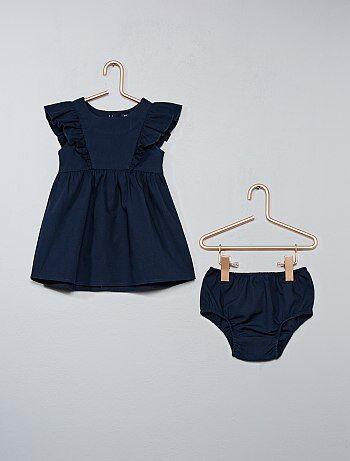 Robe volantée et culotte assortie - Kiabi