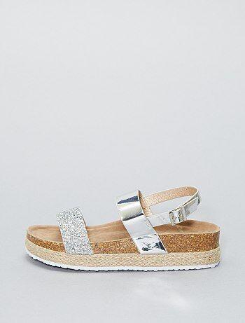 Sandales à plateformes strass - Kiabi