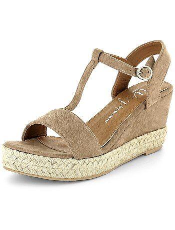 Sandales compensées en suédine - Kiabi