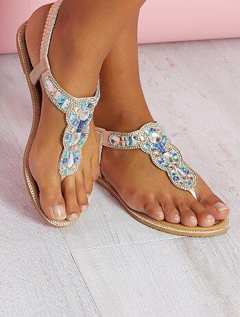 Grande taille femme - Sandales en simili avec détails sur bride - Kiabi