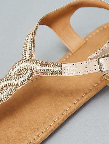 Sandales plates à perles - Kiabi