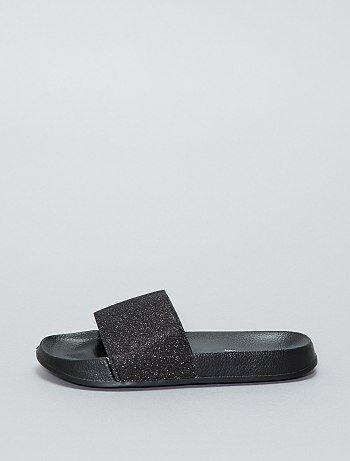 Sandales plates pailletées - Kiabi