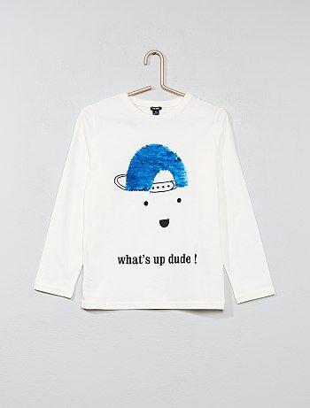 Garçon 3-12 ans - T-shirt à sequins réversibles - Kiabi