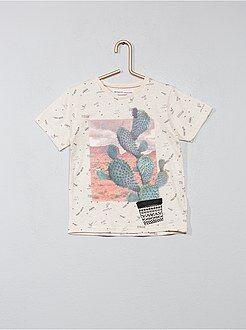 Tee shirt, polo taille 7/8a - T-shirt imprimé 'cactus' - Kiabi