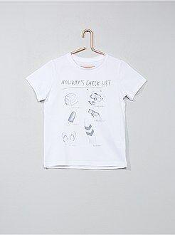 Tee shirt, polo blanc - T-shirt imprimé fantaisie - Kiabi
