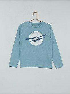 Tee shirt, polo bleu - T-shirt imprimé fantaisie - Kiabi