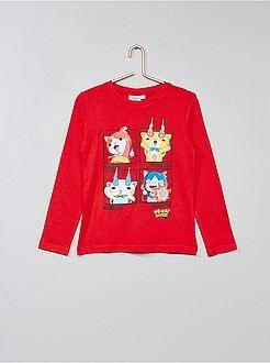 Tee shirt, polo rouge - T-shirt imprimé 'Yo Kai Watch' - Kiabi