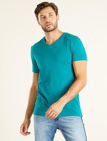 Homme du S au XXL - T-shirt regular en coton col V - Kiabi
