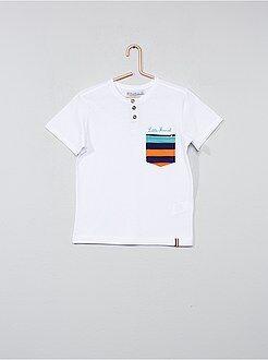 Tee shirt, polo blanc - Tee-shirt col tunisien - Kiabi
