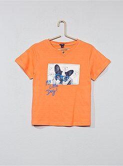 Tee shirt, polo rose - Tee-shirt pur coton imprimé - Kiabi