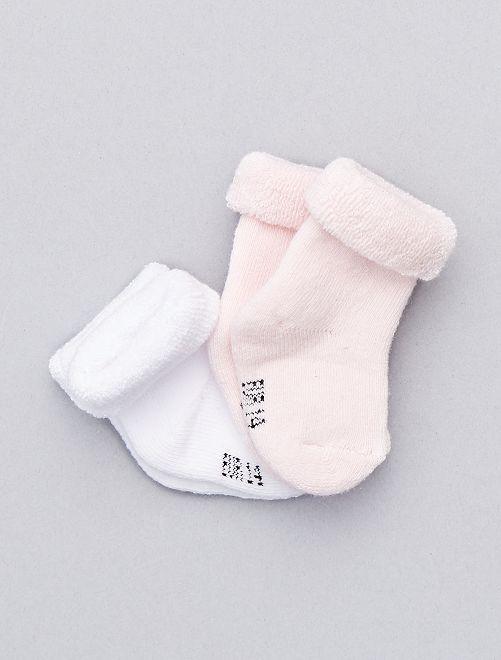 2 paar sokjes van biologisch katoen                                                                 wit / roze