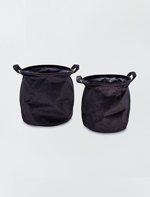 2 ronde fluwelen manden                                                                 zwart