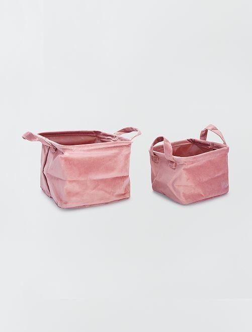 2 vierkante fluwelen manden                                                                 roze