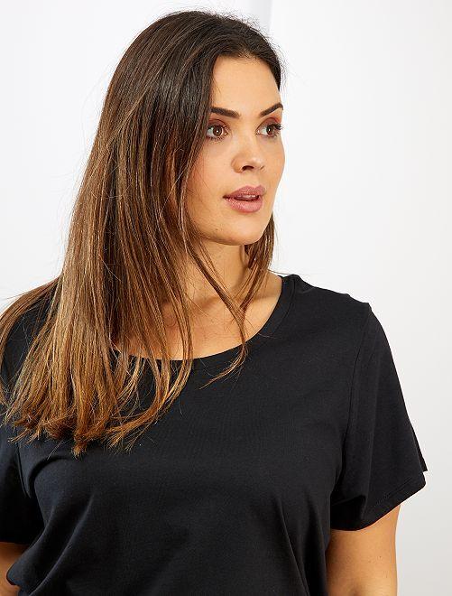Basic, katoenen T-shirt                                                                                                                             zwart Dames size+