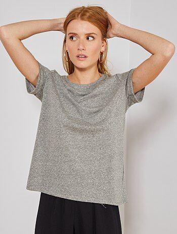 86939f76485 Damesmode maat 34-48 - Basic soepelvallend T-shirt - Kiabi