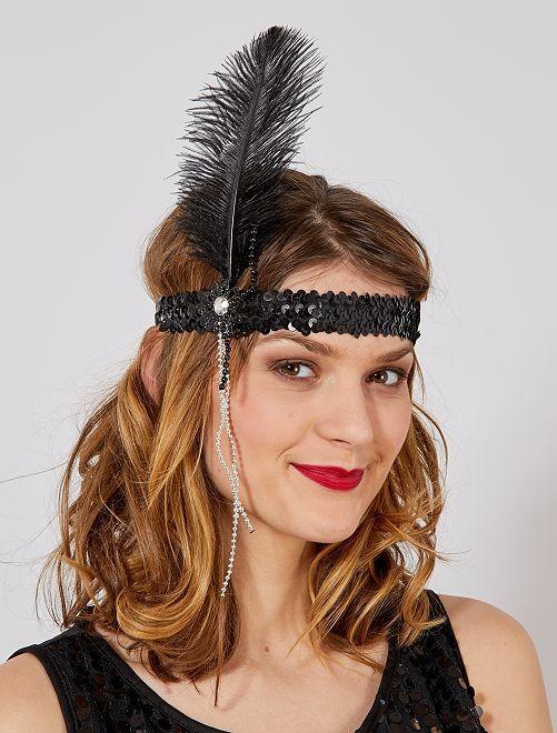 Charleston-haarband met veer en kraaltjes                             zwart