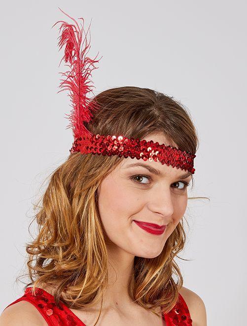 'Charleston' hoofdband met lovertjes en een veer                                                     rood
