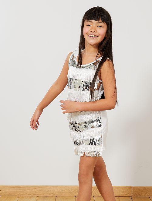 Charleston-verkleedkostuum voor meisjes                                                                 wit Kinderen