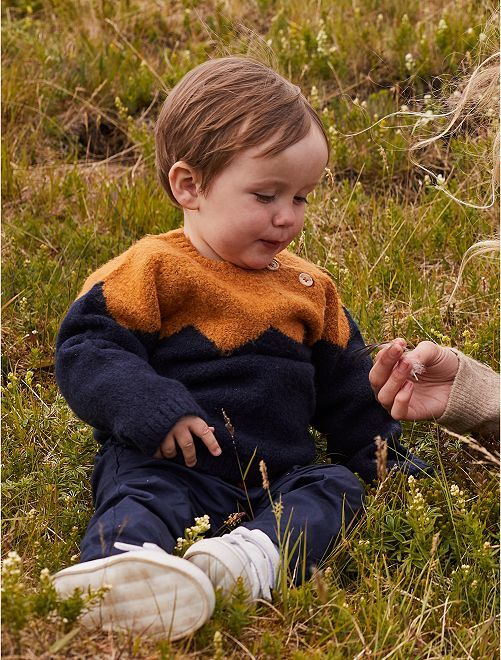 Colorblock trui van tricot                             BLAUW