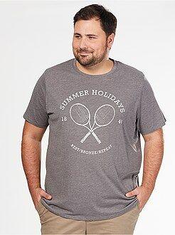 Heren t-shirts - Comfortabel T-shirt van tricot met sportprint