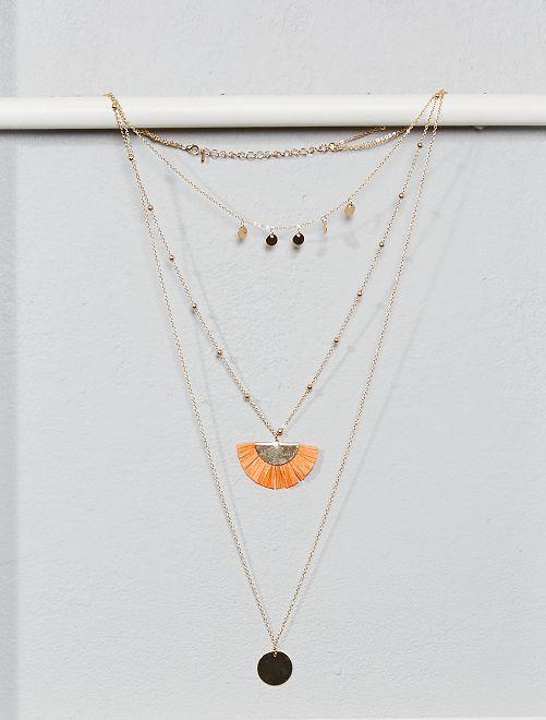 Drielaagse ketting met medailles en kwastjes                                         GEEL Dames size+