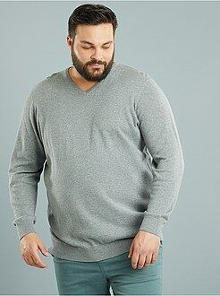 Herenmode grote maten Dunne trui met V-hals, grote maten
