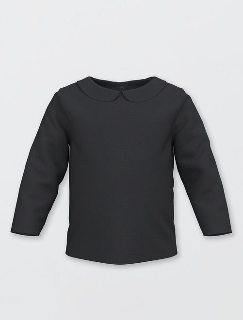Ecodesign T-shirt met Peter Pan-kraagje                                                     zwart