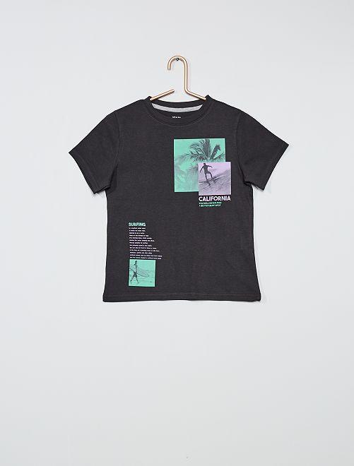 Ecologisch ontworpen T-shirt met print                                                                                                                                         GRIJS