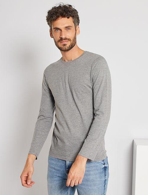Effen T-shirt met lange mouwen                                                                                         GRIJS