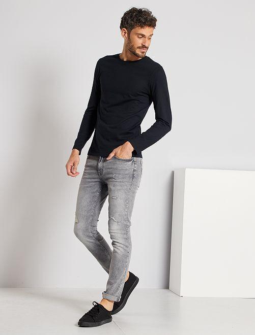 Effen T-shirt met lange mouwen                                                                                         zwart