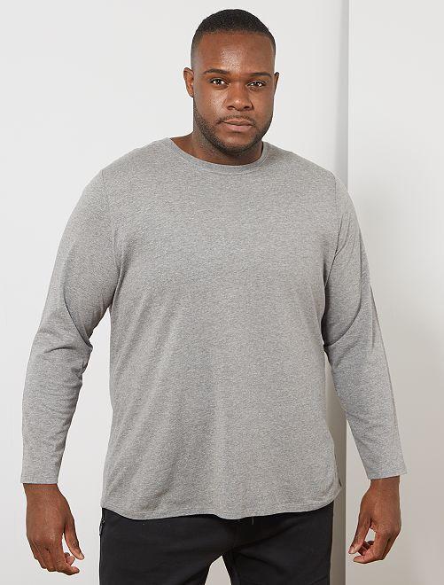 Effen T-shirt van 100% katoen                                                     GRIJS