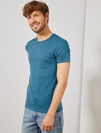 837c3daa57737d Goedkoop basic t-shirt heren met lange of korte mouwen - mode