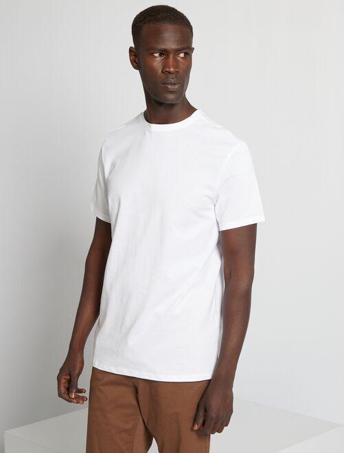 Effen T-shirt van tricot                                                                                                                                                                                                                 wit