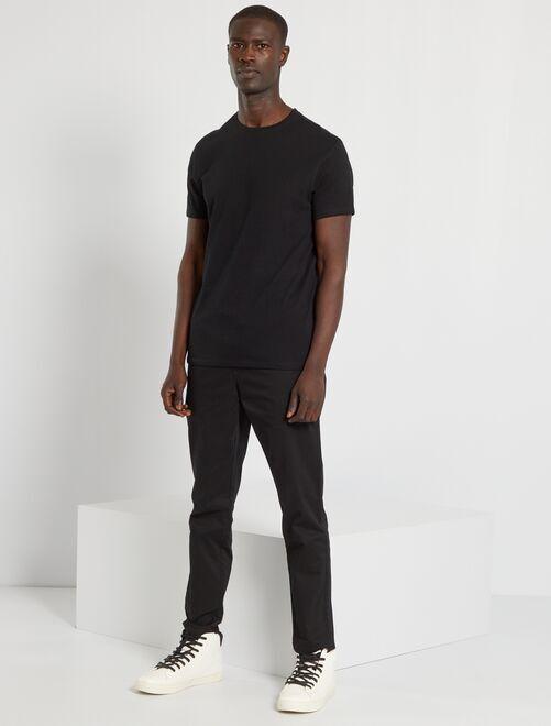 Effen T-shirt van tricot                                                                                                     zwart