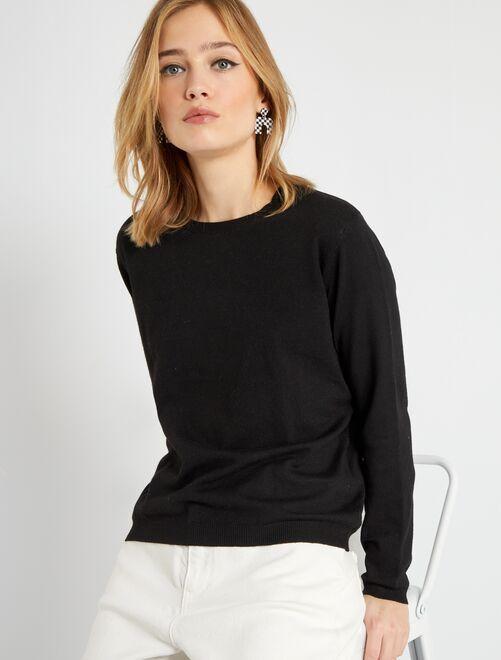 Effen trui van fijn tricot                                                     zwart