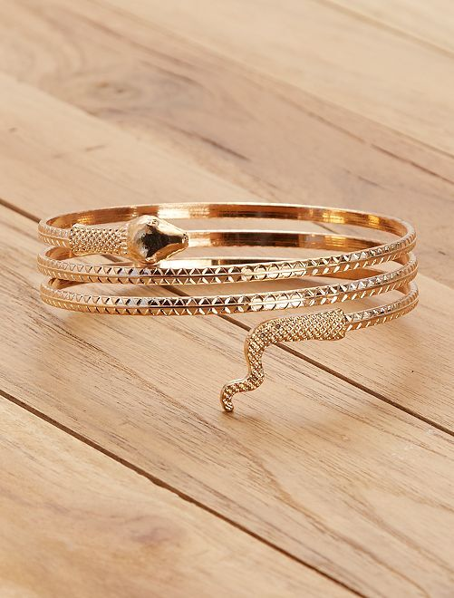 Egyptische slangenarmband                             goudkleur