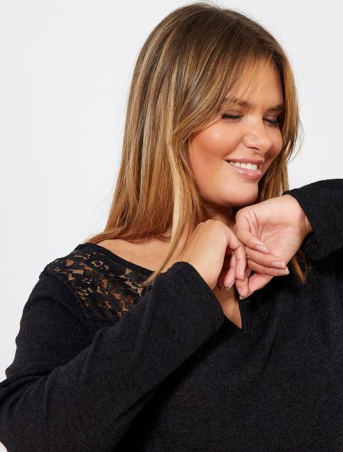 Fijne trui van kant                                         zwart