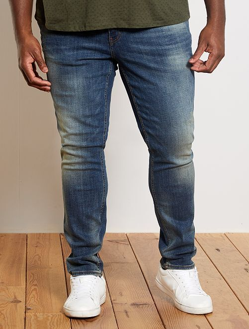 Fitted jeans met used effect                             BLAUW