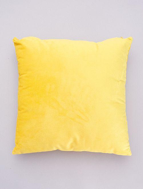 Fluwelen kussen met afneembare hoes                                         geel