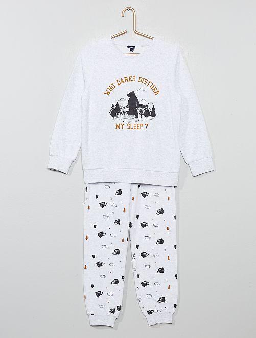 Fluwelen pyjama met beer en berg                                                     grijs Kinderkleding jongens