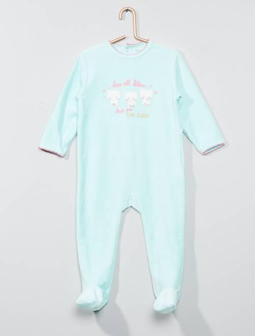 Babykleding Print.Fluwelen Pyjama Met Print Meisjes Babykleding Groen Kiabi 10 00