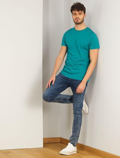Gebleekte slimfit jeans, lengtemaat 36, 1,90 m+                             BLAUW