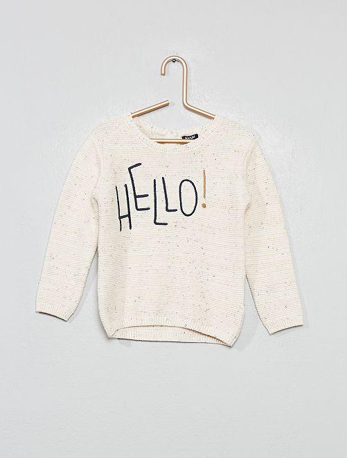 Geborduurde trui met ribbelsteek                                                     BIEGE Jongens babykleding